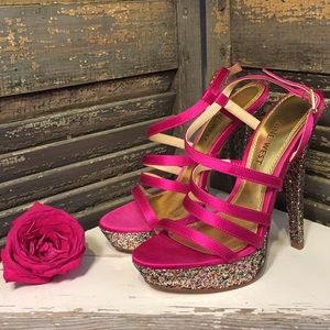 New Fabulous Pink Sparkly Nine West Heels